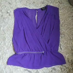 Bebe purple peplum style top sz xs